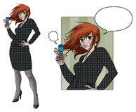 Anime style business woman holding phone Royalty Free Stock Photos