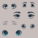 Anime style eyes collection Royalty Free Stock Photography