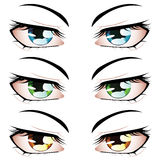 Anime Style Eyes. Set of manga, anime style eyes of different colors Stock Photo
