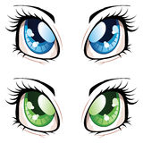 Anime Style Eyes. Set of manga, anime style eyes of different colors Royalty Free Stock Photo