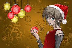 Anime style santa boy with christmas background Royalty Free Stock Photography