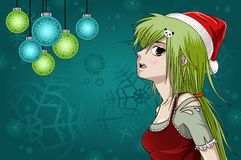 Anime style santa girl with christmas background Royalty Free Stock Image