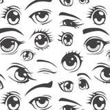 Anime stylowy bezszwowy wzór Zdjęcie Royalty Free