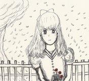 Anime stylowy rysunek młoda dziewczyna z różami zdjęcia royalty free