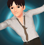 Anime suave young guy Royalty Free Stock Photo