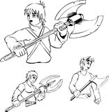 Anime warriors with poleaxe Royalty Free Stock Photo