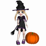 Anime Witch 1. Anime witch with blonde hair holding her broomstick standing next to a pumpkin Stock Images