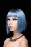 Anime wzorcowa dziewczyna z błękitnym włosy Zdjęcie Royalty Free