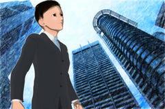 Anime young executive Royalty Free Stock Photos
