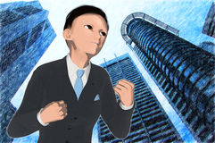 Anime young executive Stock Image