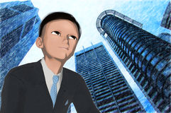 Anime young executive Royalty Free Stock Photography