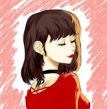 Animeflicka, neko, kawaii, Sofi vektor illustrationer