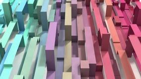 Animerad 3D illustrerade kulör geometrisk bandbakgrund för den pastellfärgade regnbågen lager videofilmer