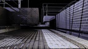 Animerat fluga-till och med av en 3D illustrerade den metalliska staden lager videofilmer