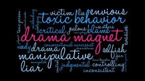 Animerat ordmoln för drama magnet vektor illustrationer
