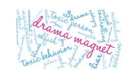 Animerat ordmoln för drama magnet stock illustrationer