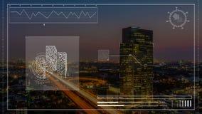 Animering av analys för konstruktionsdatorhologram av skyskrapabyggnad i stadsnattcityscape i teknikteknologi stock illustrationer