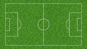 Animering av att dra linjerna på fotbollfotbollfältet på grönt gräs stock illustrationer