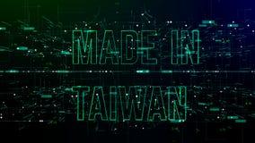 Animering av cyberspace med 'som göras i Taiwan 'text royaltyfri illustrationer
