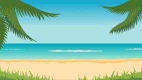 Animering av det tropiska landskapet - stranden, havet, vinkar, gömma i handflatan royaltyfri illustrationer
