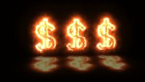Animering av dollartecken som visar aningen av vinst stock illustrationer