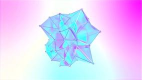 Animering av en formmetamorfos av en polygonal halv genomskinlig modell Flerfärgad sömlös öglasrörelse av ett polygonal royaltyfri illustrationer