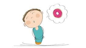Animering av en hungrig man som tänker om munken med rosa jordgubbetoppning, animerat hand dragit tecknad filmtecken stock video
