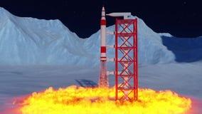 Animering av en lansering för interkontinental ballistisk missil från plattformen royaltyfri illustrationer