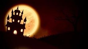 Animering av ett spöklikt spökat hus med Stålar-nolla-lykta allhelgonaaftonpumpor vektor illustrationer
