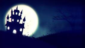 Animering av ett spöklikt spökat hus med Stålar-nolla-lykta allhelgonaaftonpumpor stock illustrationer