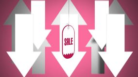 Animering av försäljningsklistermärken som på vänder mot pilar