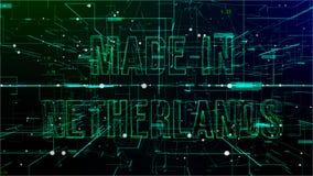Animering av flyttande cyberspace med 'gjort i Nederländerna text stock illustrationer