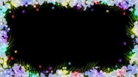 Animering av julfärgljus på filialer för gran (gran) och snö på svart bakgrund stock illustrationer