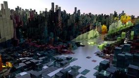 Animering av kameraflyget över staden Låg poly kamerafluga över den i stadens centrum tecknade filmen royaltyfri illustrationer