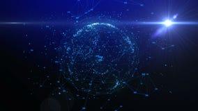 Animering av linjer och prickar i cyberspace som bildar planetjorden stock illustrationer
