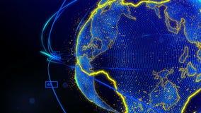 Animering av linjer och prickar i cyberspace som bildar planetjorden vektor illustrationer