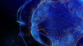 Animering av linjer och prickar i cyberspace som bildar planetjorden royaltyfri illustrationer