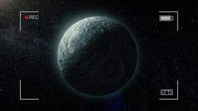 Animering av loppet in mot den Mimas satelliten, kamera rec, måne för Saturn ` s, i universumet Raksträcka-linje docka i väg från lager videofilmer