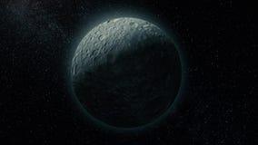 Animering av loppet in mot den Mimas satelliten, måne för Saturn ` s, i universumet Raksträcka-linje docka i väg från Mimas stock video