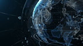 Animering av rotation av nummer runt om planetjorden, teknologi av framtiden vektor illustrationer