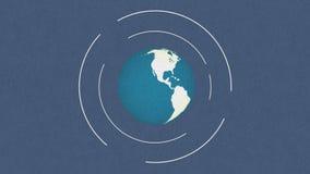 Animering av roterande planetjord på utrymmebakgrunds- och oväsentextur arkivfilmer