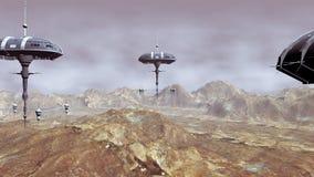 Animering av rymdskepp som landar på planeten stock illustrationer