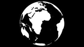 Animering av snurrplanetjord på svart bakgrund 4k som är loopable stock illustrationer