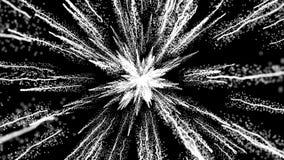 Animering av vita partiklar på svart bakgrund, dammexplosion och slut upp sikt royaltyfri illustrationer