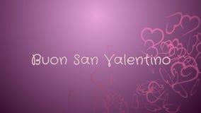 Animering Buon San Valentino, lyckliga valentin dag i italienskt språk, hälsningkort