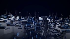 animering 3D av byggnad för växande stad och modern arkitekturkonstruktion av cityscape i den flyg- sikten och det industriella b arkivfilmer