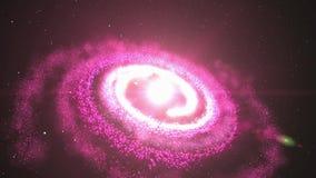 animering 3D av den rosa galaxen och nebulosan med glänsande stjärnaljus och stardust som roterar och rotera i obegränsat utrymme