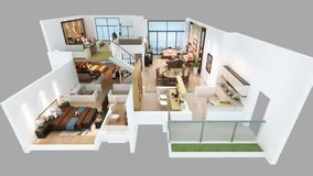 animering 3d av det isometriska hem- golvplanet