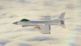 animering 3D av en jaktflygplan som avfyrar en missil royaltyfri illustrationer