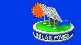 animering 3D av en utrustning för sol- energi som består av 3 solpaneler, en inverterare och ett batteri som roterar 360 grader stock video